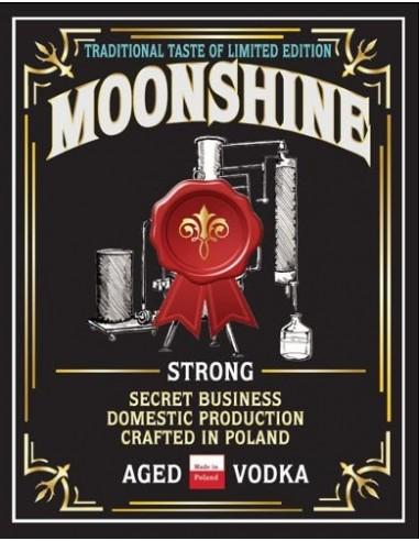Etykieta MOONSHINE STRONG AGED VODKA