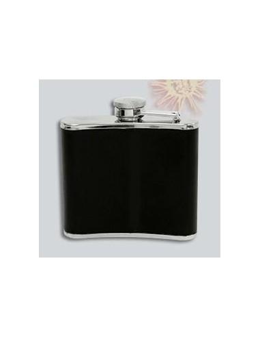 Piersiówka metalowa z czarnej skórze - 150 ml - 1 - Inne